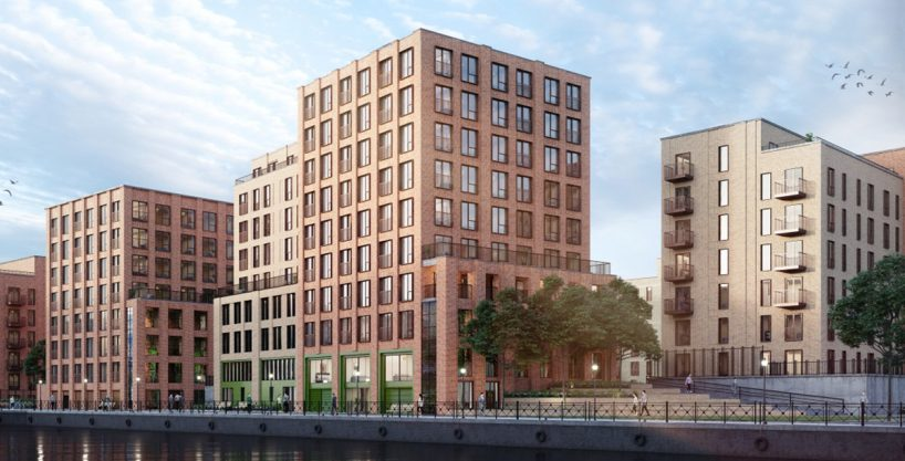 Bridgewater Wharf apartments for sale located between Manchester and Salford.